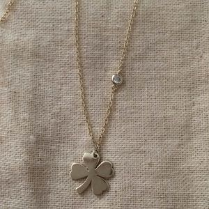 Jewelry - Clover Necklace with CZ Accent